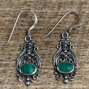 925 Sterling Silver Ornate Malachite Earrings